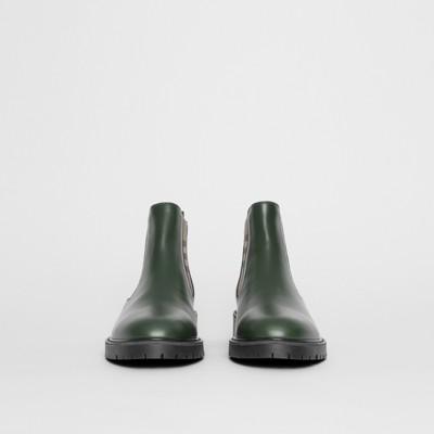 Bottines Avec vert Bouteille Cuir Check Détails Chelsea En Vintage trO1wrqp