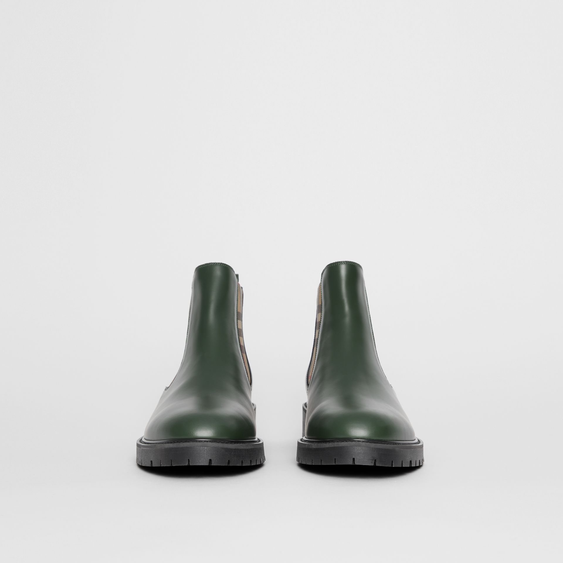 Vintage Check Detail Leather Chelsea Boots in Bottle Green - Men | Burberry - gallery image 3