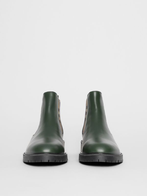 Vintage Check Detail Leather Chelsea Boots in Bottle Green - Men | Burberry - cell image 3