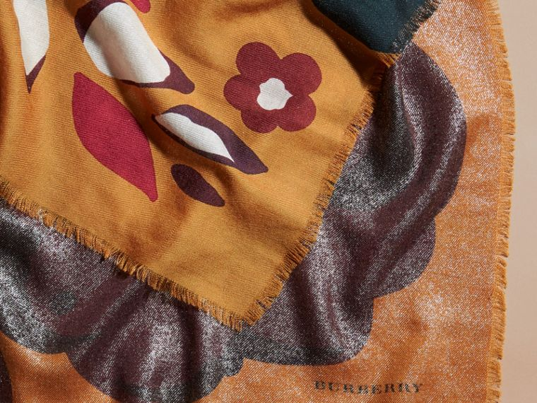 Burnt orange Floral Metallic Cashmere Scarf Burnt Orange - cell image 1