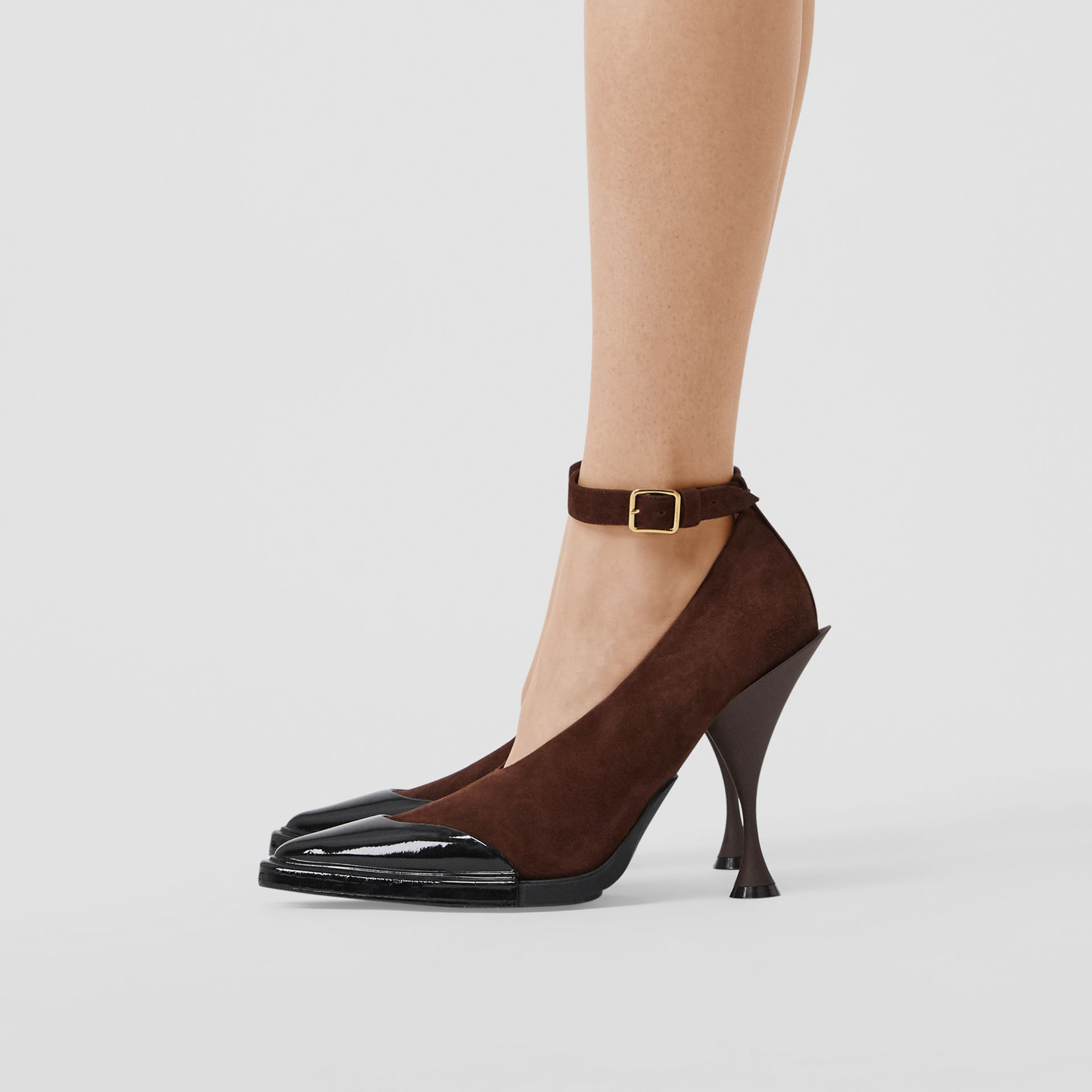 Toe Cap Detail Leather Point-toe Pumps in Dark Mocha - Women | Burberry United Kingdom - gallery image 2