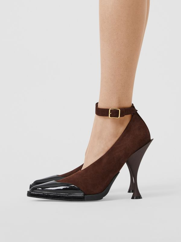 Toe Cap Detail Leather Point-toe Pumps in Dark Mocha - Women | Burberry - cell image 2