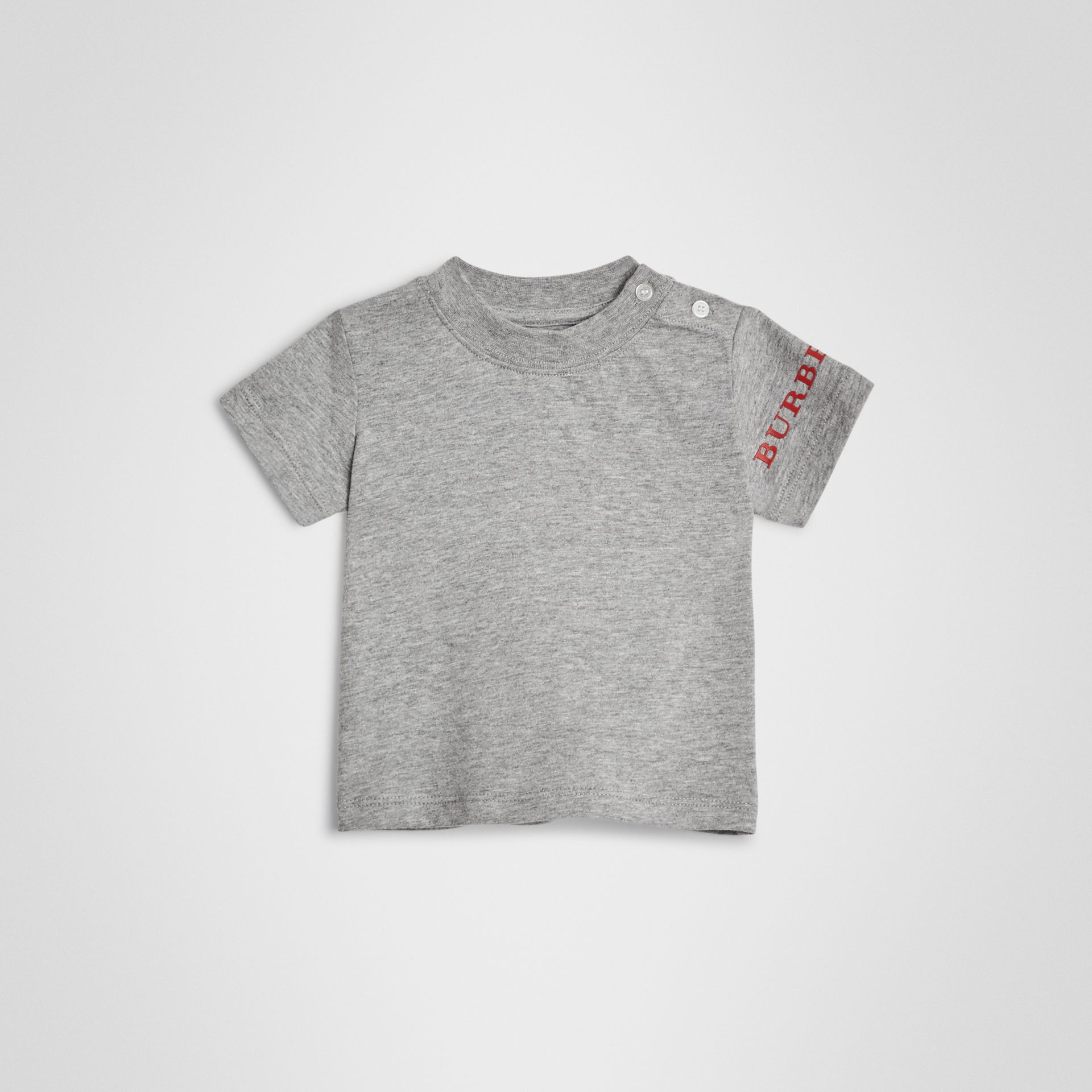 Logo Print Cotton T-shirt in Grey Melange - Children | Burberry Hong Kong - gallery image 0