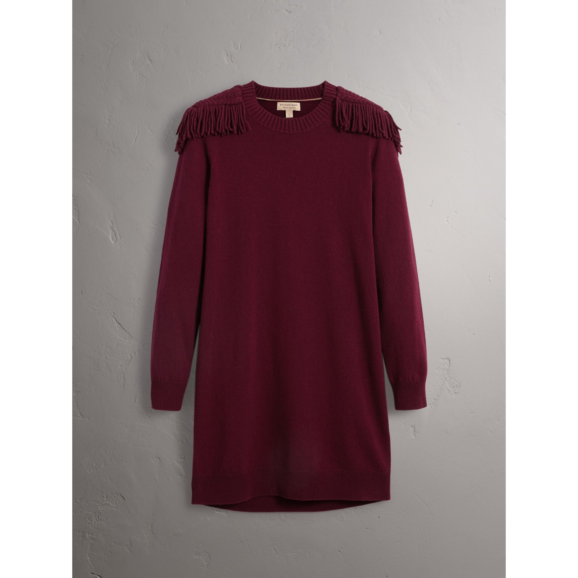 Epaulette Detail Wool Cashmere Dress in Burgundy - Women | Burberry - gallery image 4