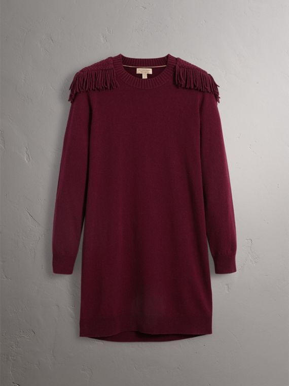 Epaulette Detail Wool Cashmere Dress in Burgundy - Women | Burberry United Kingdom - cell image 3