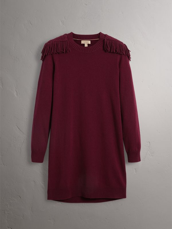 Epaulette Detail Wool Cashmere Dress in Burgundy - Women | Burberry - cell image 3