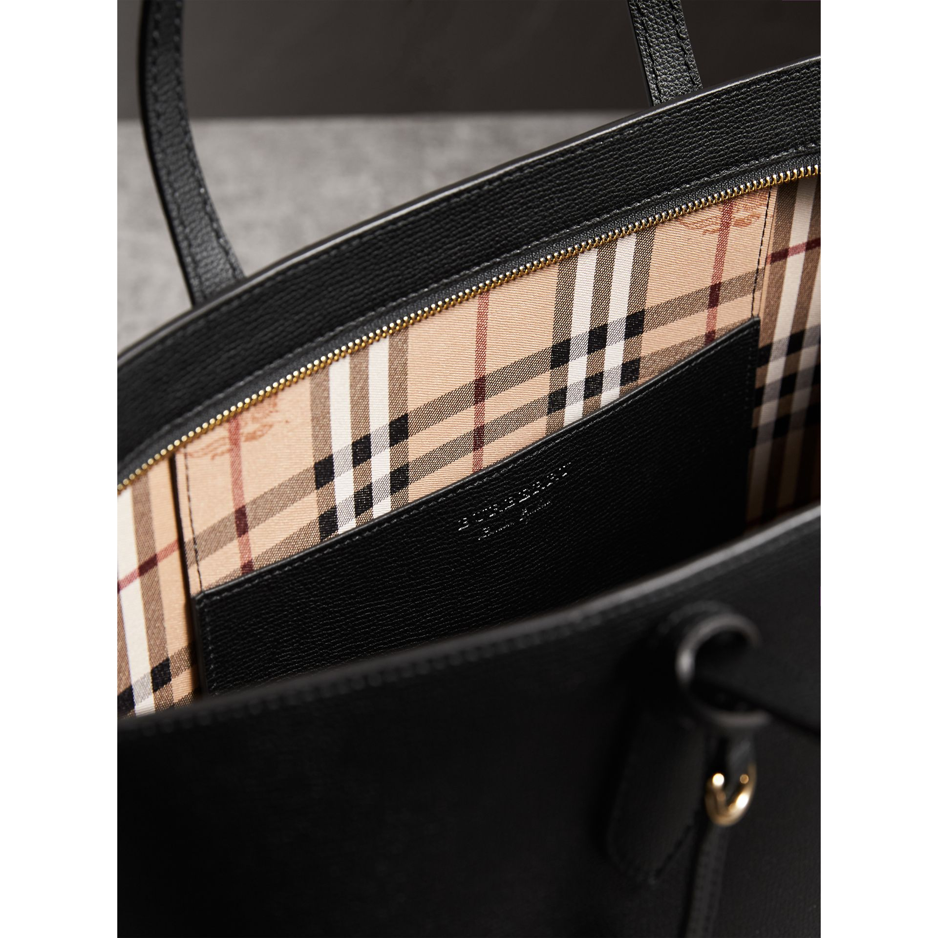 Medium Coated Leather Tote in Black - Women | Burberry United Kingdom - gallery image 4