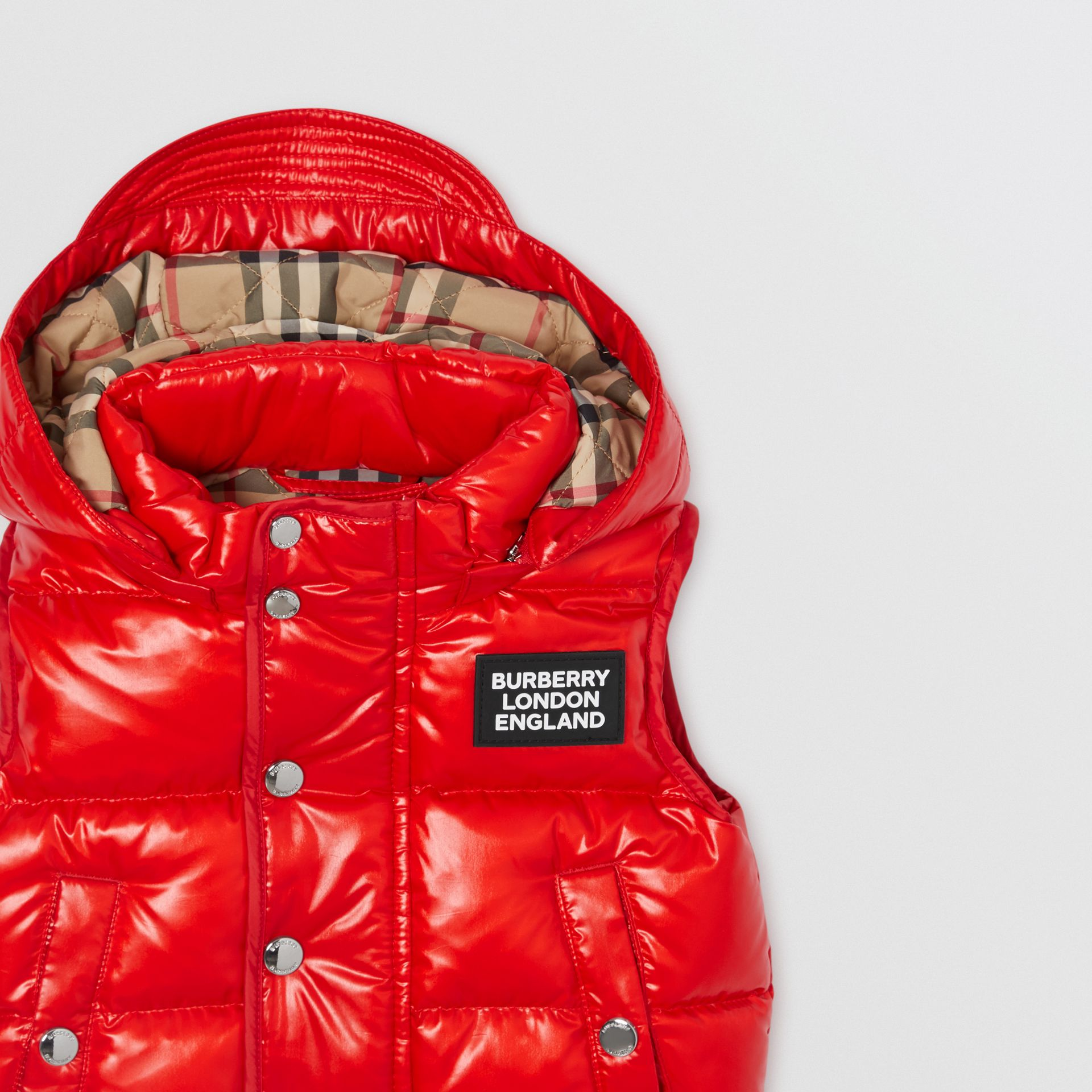 Detachable Hood Nylon Puffer Gilet in Pillar Box Red - Children | Burberry United Kingdom - gallery image 5