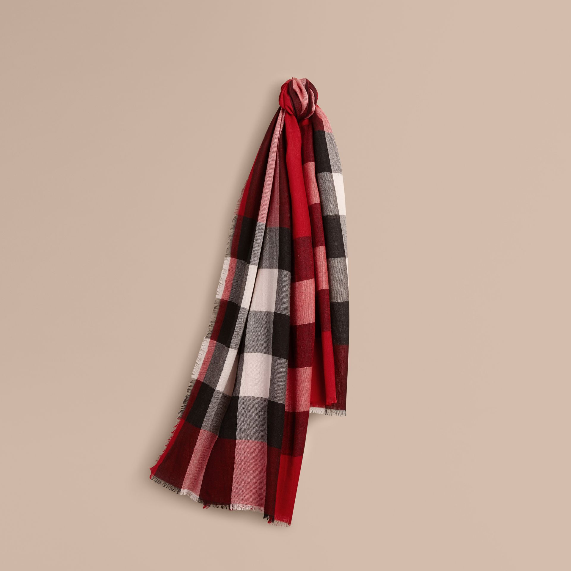 Parade red The Lightweight Cashmere Scarf in Check Parade Red - gallery image 6