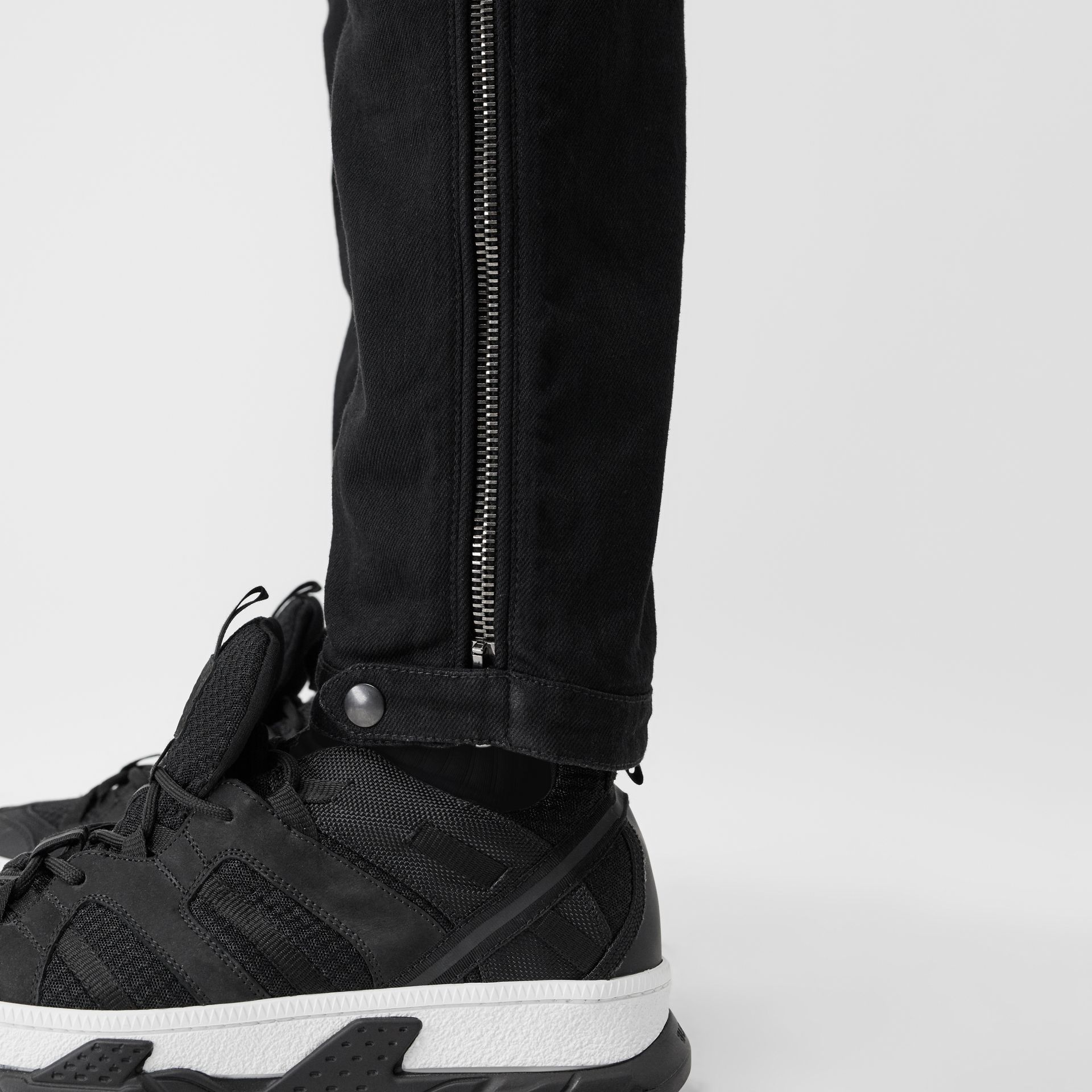 Slim Fit Zip Detail Biker Jeans in Black - Men   Burberry United States - gallery image 4