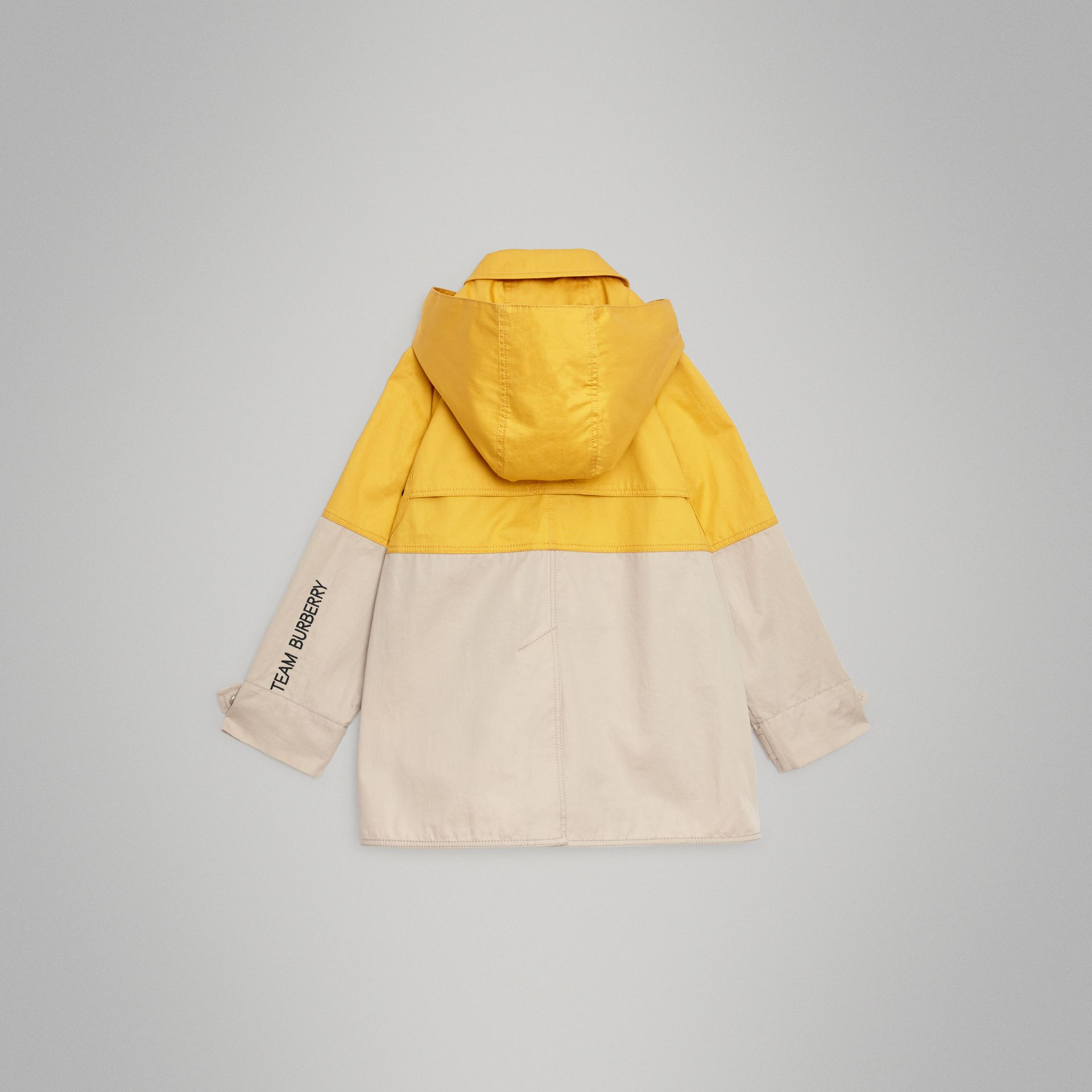 Detachable Hood Colour Block Cotton Car Coat in Gorse Yellow | Burberry United Kingdom - gallery image 3