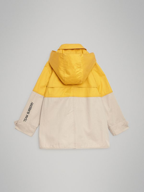 Detachable Hood Colour Block Cotton Car Coat in Gorse Yellow | Burberry United Kingdom - cell image 3