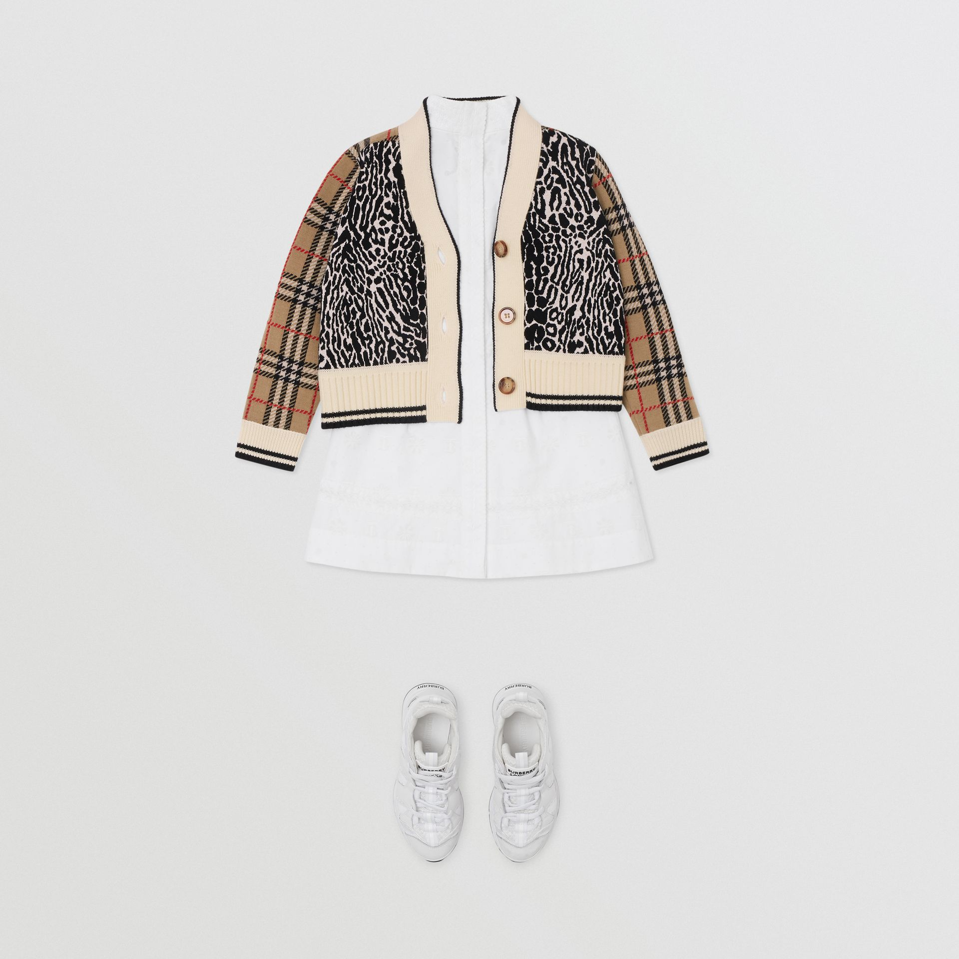 Check and Leopard Merino Wool Jacquard Cardigan in Print | Burberry - gallery image 2