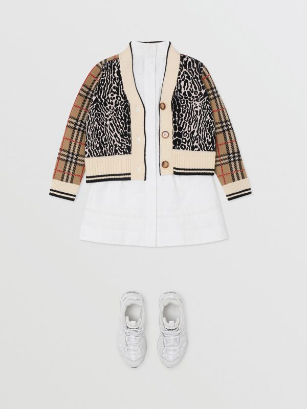 Check and Leopard Merino Wool Jacquard Cardigan in Print | Burberry - cell image 2