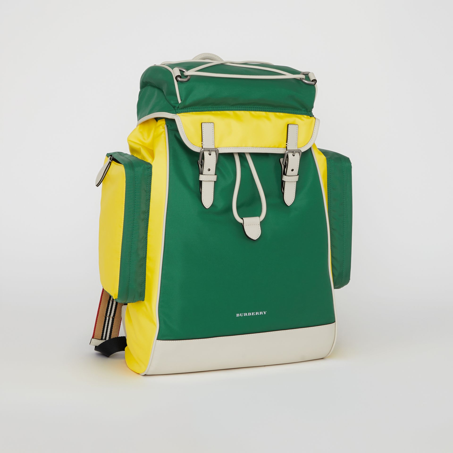 Tri-tone Nylon and Leather Backpack in Pine Green - Men | Burberry - gallery image 6