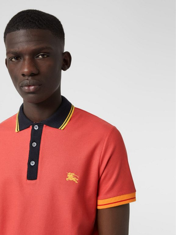 Tipped Cotton Piqué Polo Shirt in Pale Russet - Men | Burberry - cell image 1