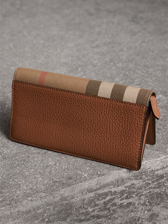 House Check and Grainy Leather Continental Wallet in Chestnut Brown - Men | Burberry - cell image 2