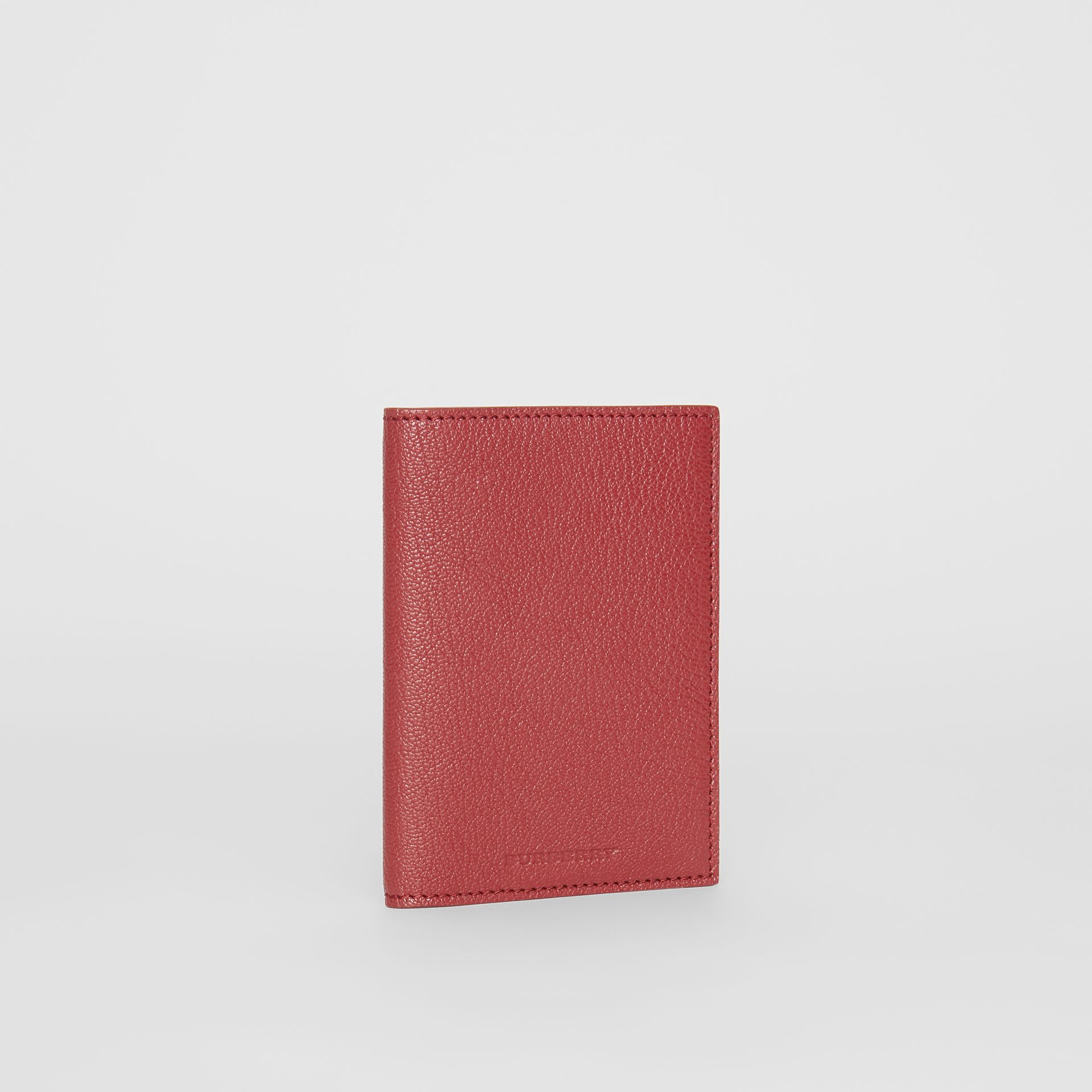 Leather Passport Holder in Crimson | Burberry Australia - gallery image 3