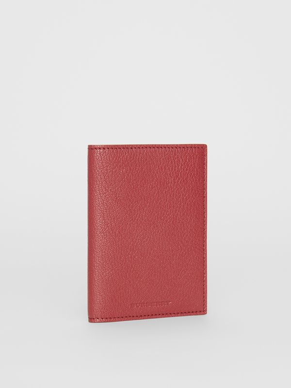 Leather Passport Holder in Crimson | Burberry Australia - cell image 3