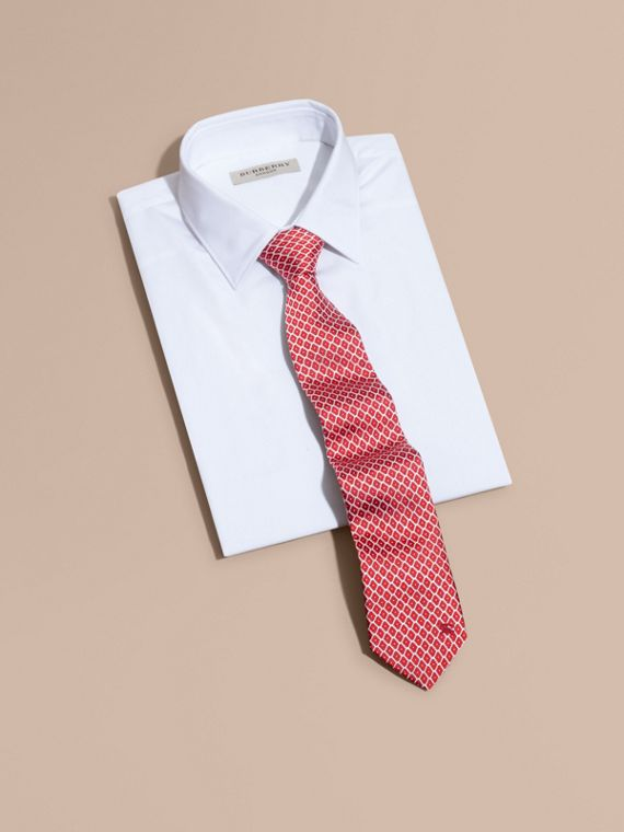 Parade red Modern Cut Silk Jacquard Tie Parade Red - cell image 3