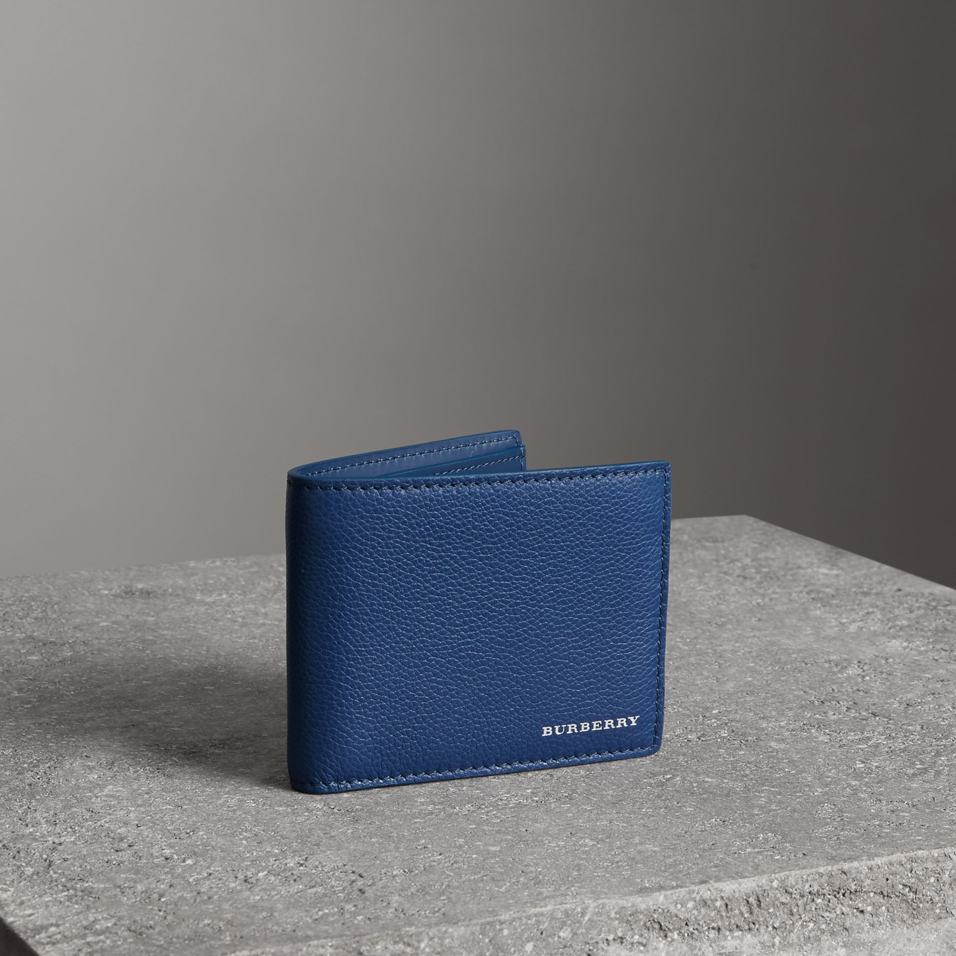 Grainy Leather Bifold Wallet in Bright Ultramarine - Men | Burberry United Kingdom - gallery image 0
