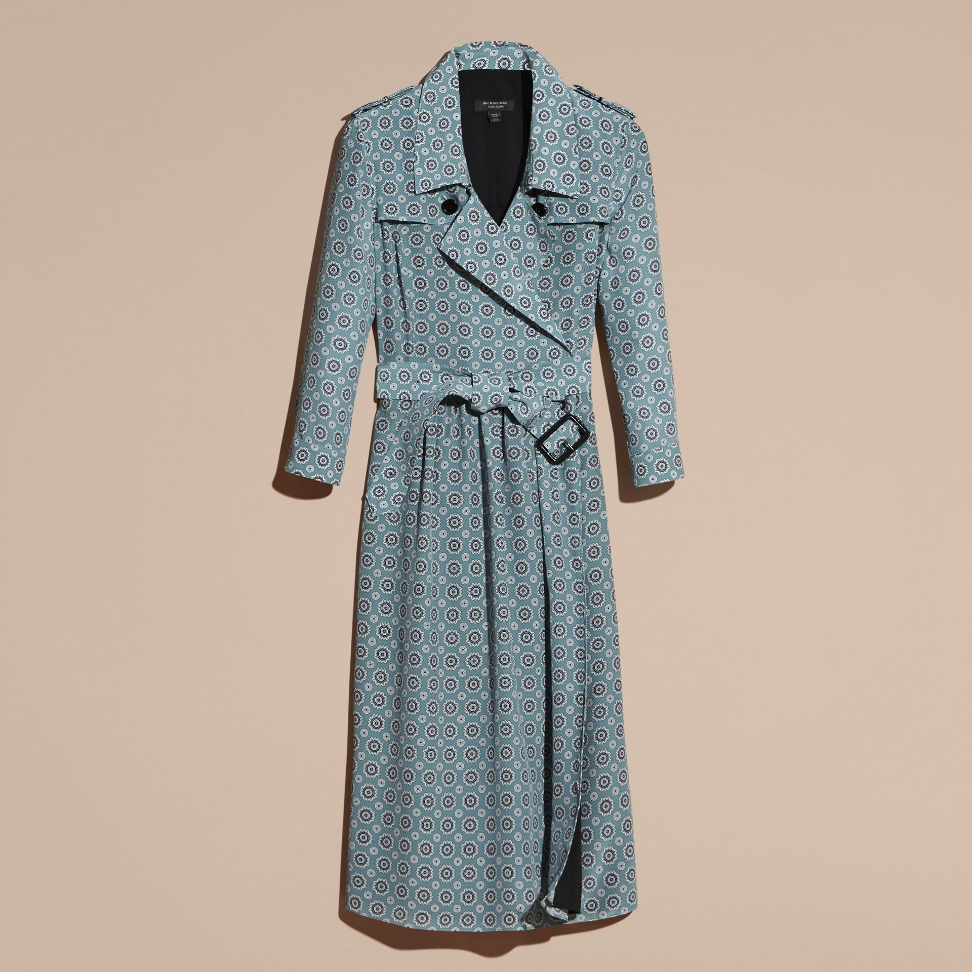 Pale stone blue Pyjama Print Silk Trench Dress - gallery image 4