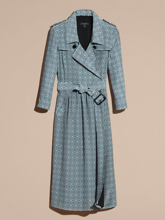 Pale stone blue Pyjama Print Silk Trench Dress - cell image 3