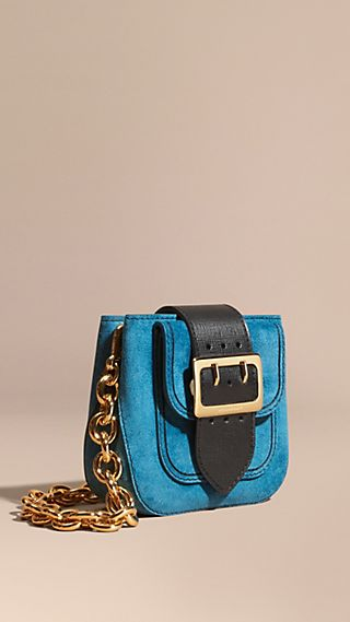 The Buckle Bag – Square in Suede and Leather Peacock Blue