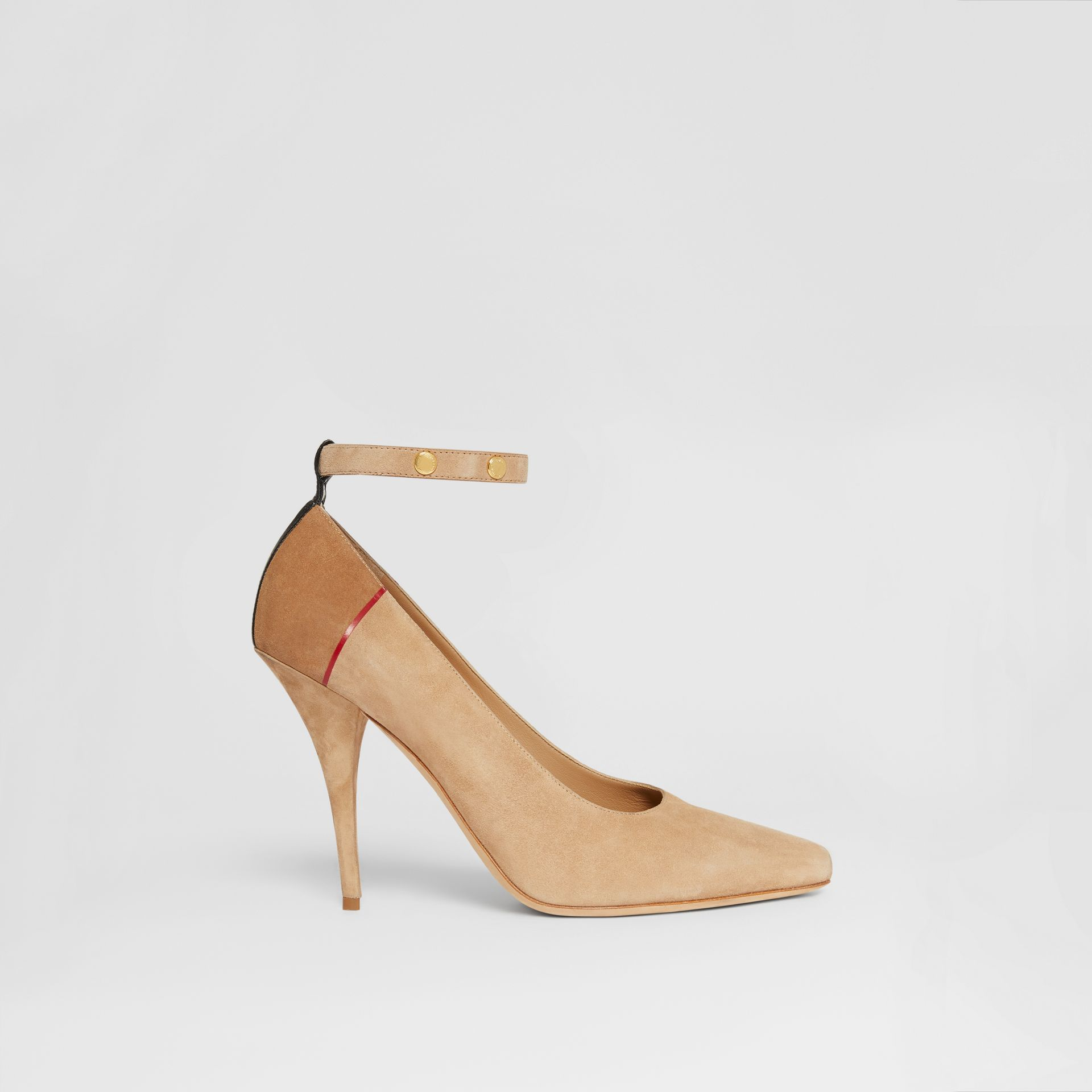 Triple Stud Stripe Detail Suede Point-toe Pumps in Tawny - Women | Burberry Canada - gallery image 5