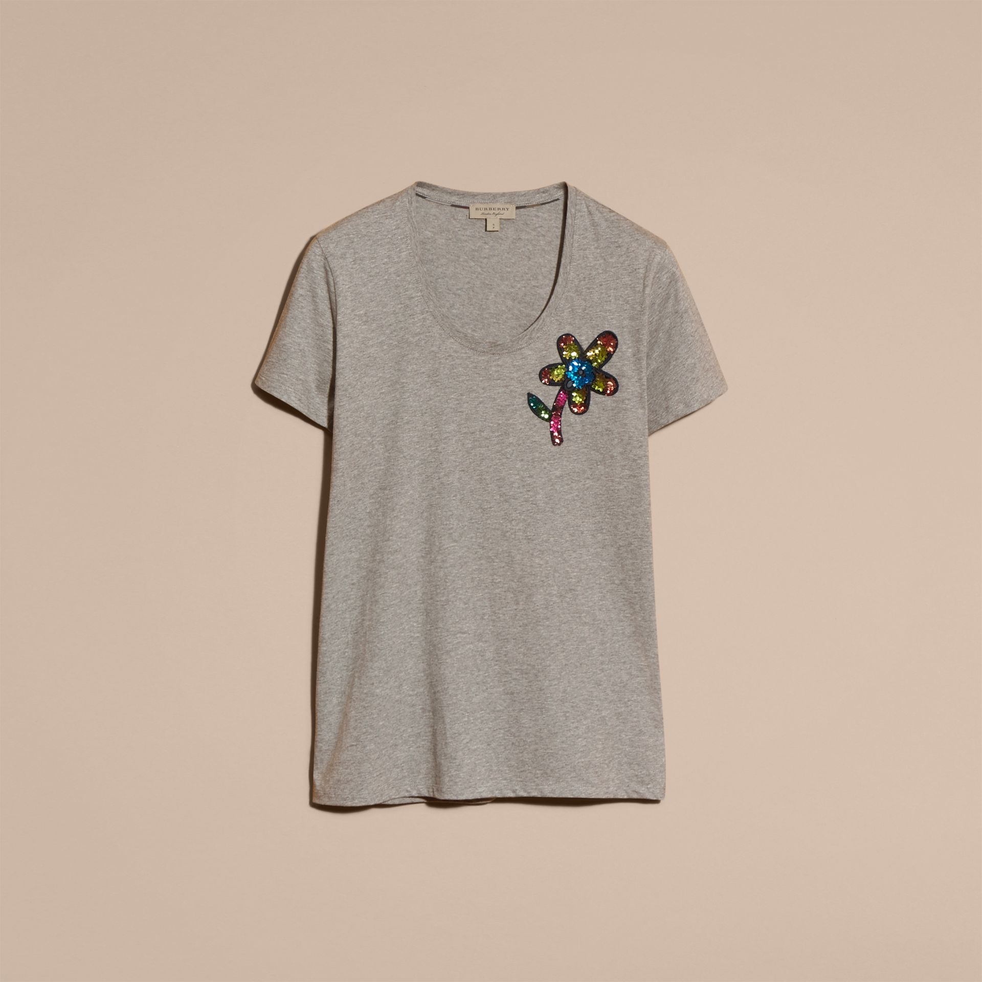 Pale grey melange Sequin Floral Appliqué Cotton T-Shirt Pale Grey Melange - gallery image 4