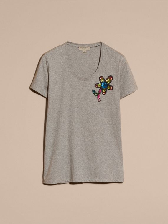 Pale grey melange Sequin Floral Appliqué Cotton T-Shirt Pale Grey Melange - cell image 3
