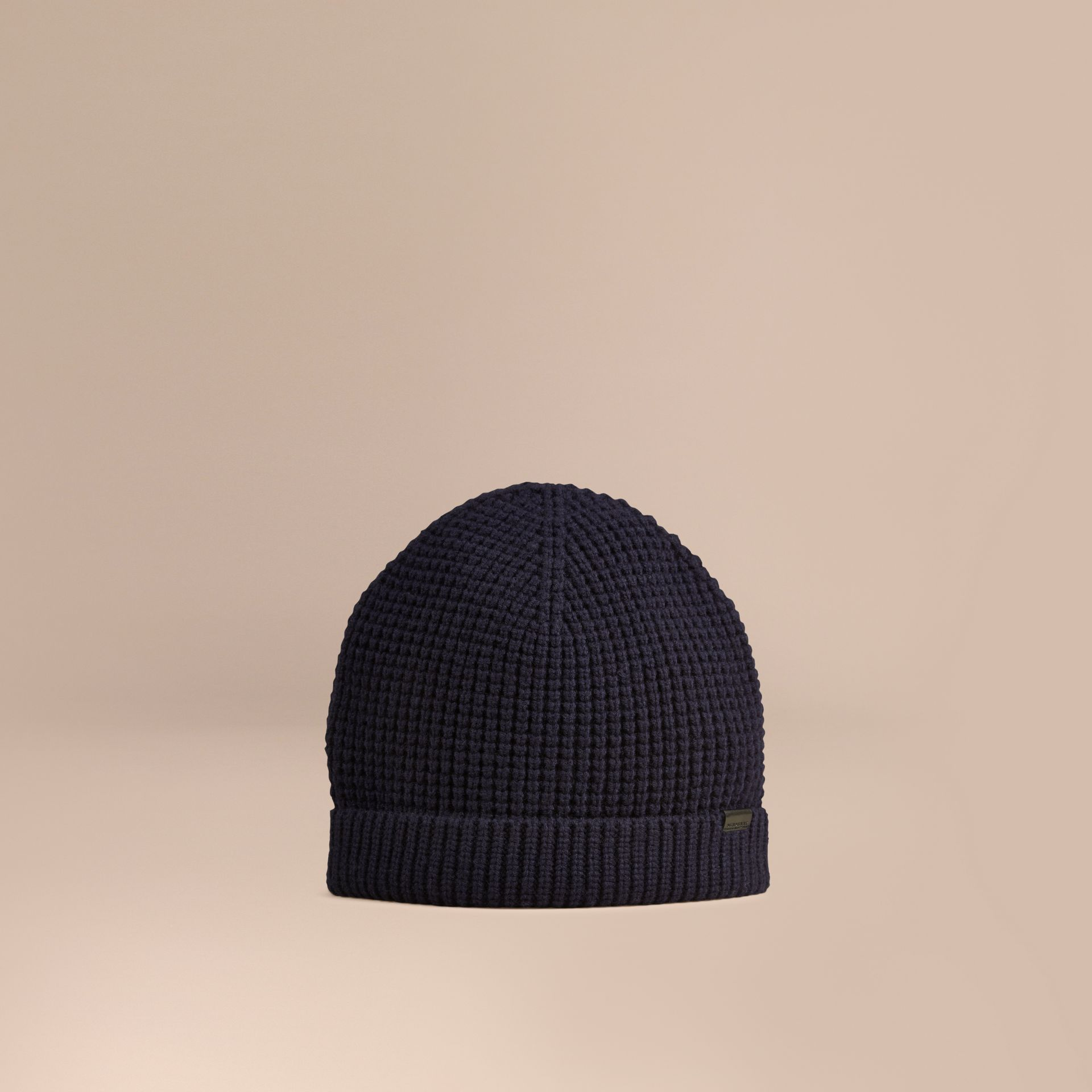 Cashmere Blend Waffle Knit Beanie in Dark Navy - Men | Burberry - gallery image 1