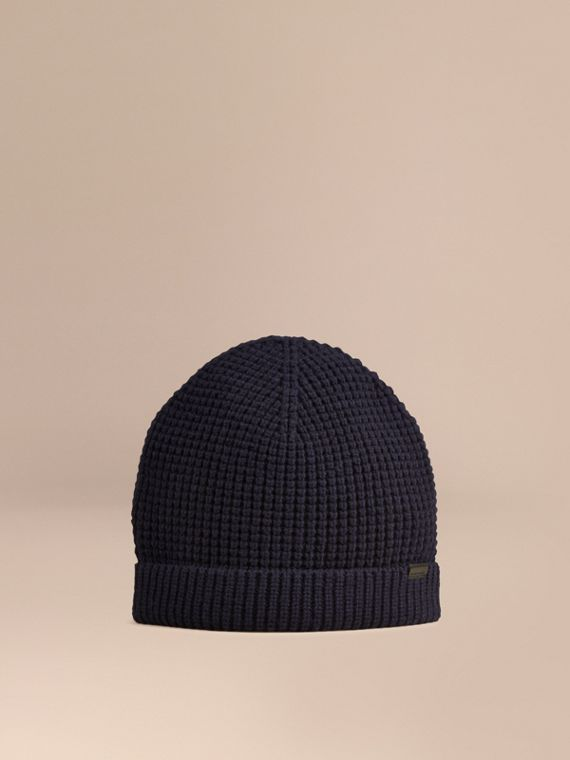 Cashmere Blend Waffle Knit Beanie in Dark Navy - Men | Burberry Australia