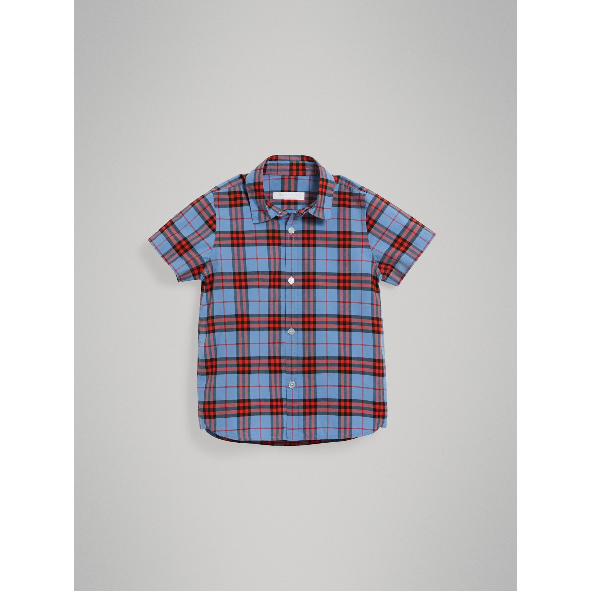 Short-sleeve Check Cotton Shirt in Cornflower Blue - Boy | Burberry - gallery image 2