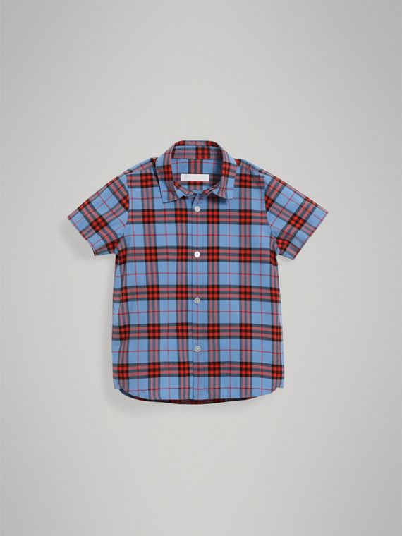 Short-sleeve Check Cotton Shirt in Cornflower Blue - Boy | Burberry - cell image 2