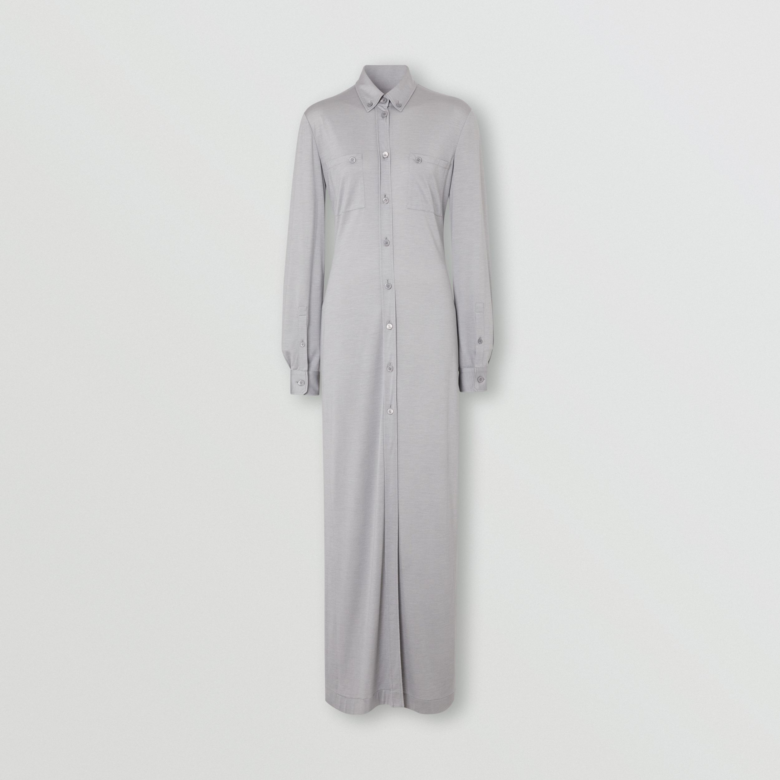 Side-slit Wool Silk Jersey Shirt Dress in Pewter Melange - Women | Burberry - 3