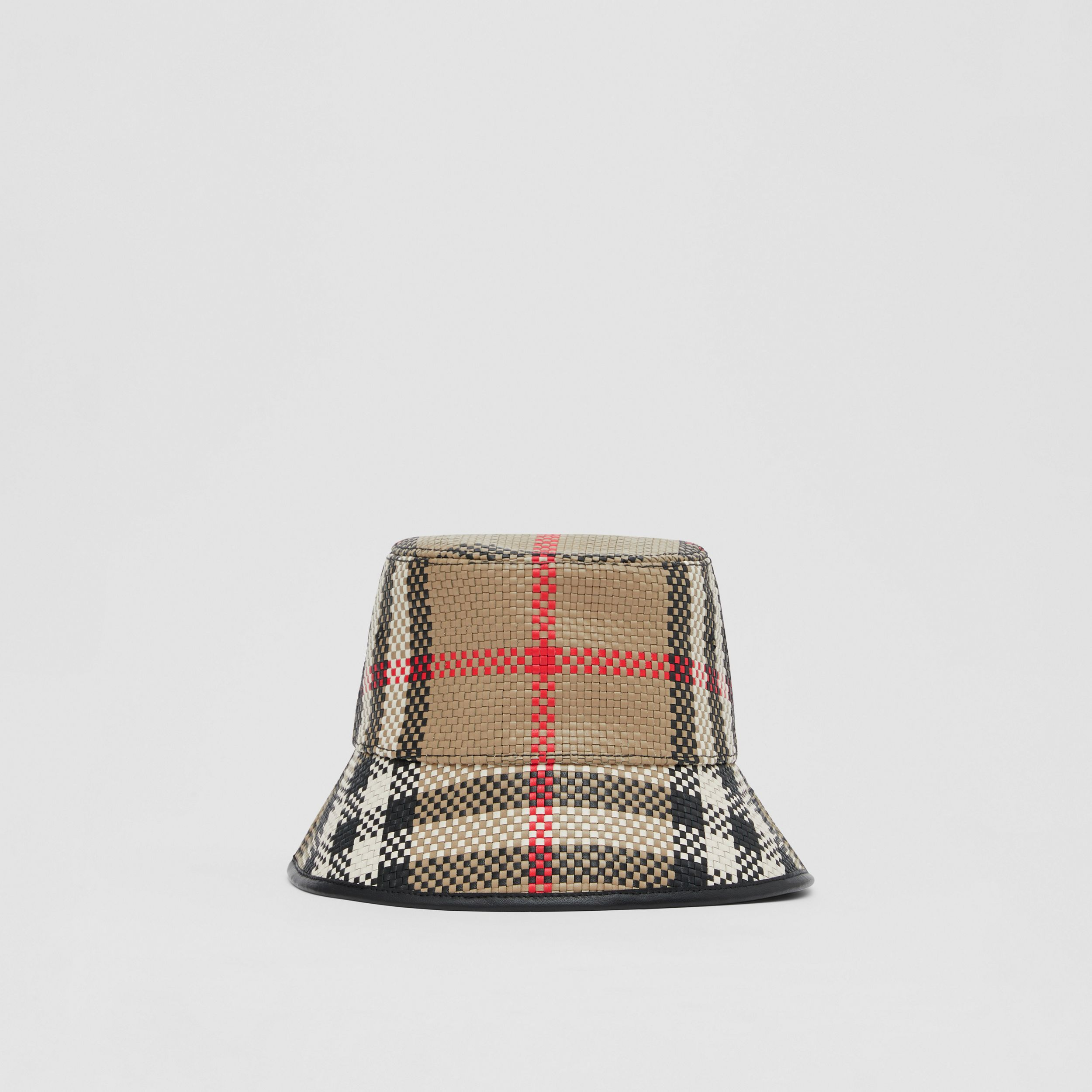 Latticed Leather Bucket Hat in Archive Beige | Burberry - 1
