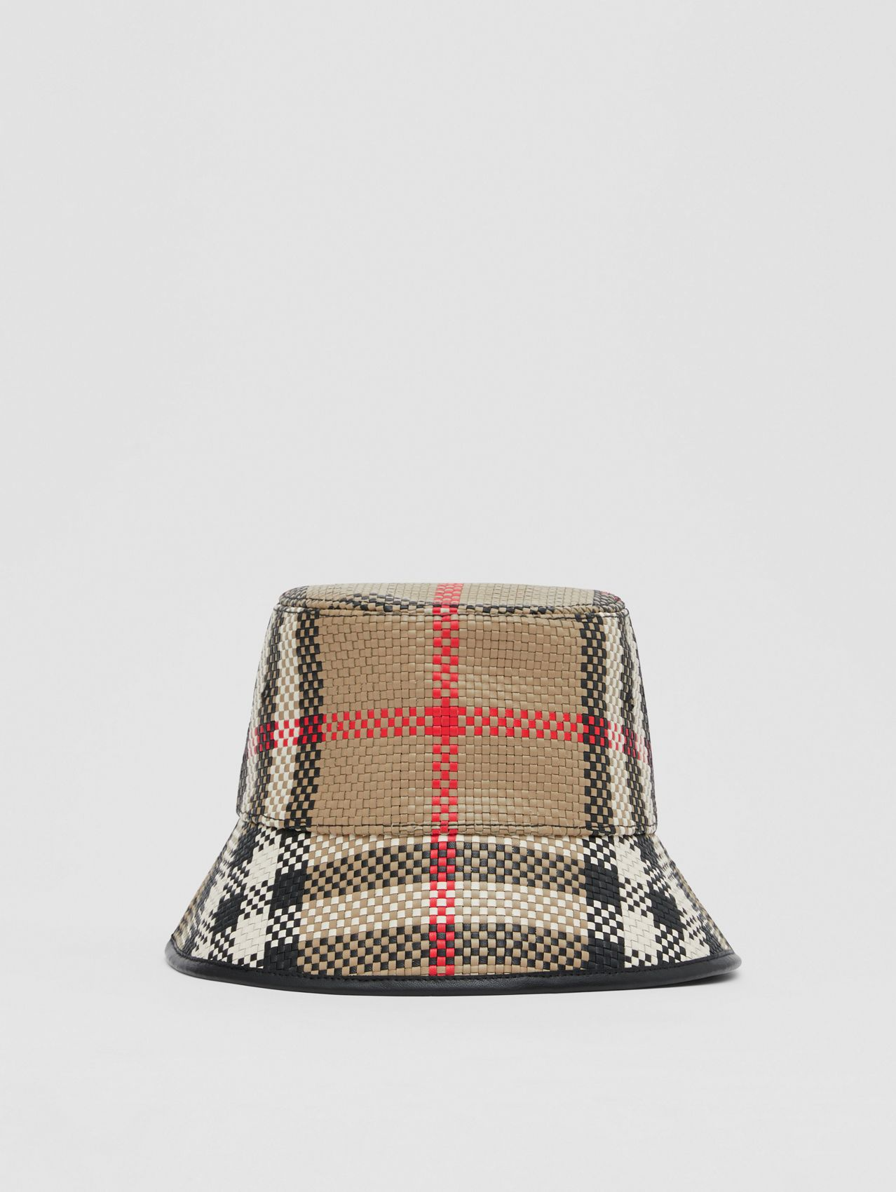 Latticed Leather Bucket Hat in Archive Beige
