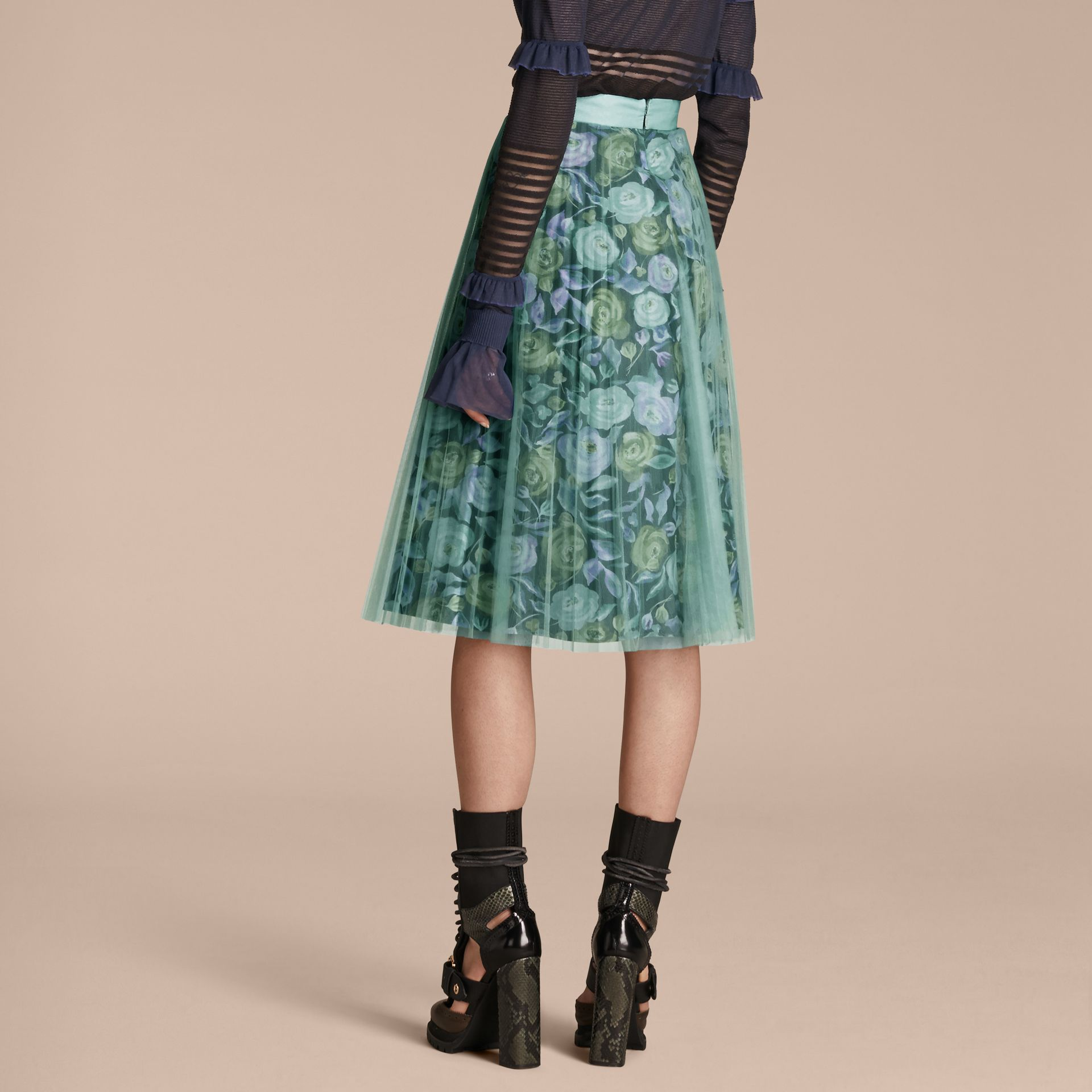 Watercolour Rose Print and Pleated Tulle Skirt in Aqua Green - gallery image 3
