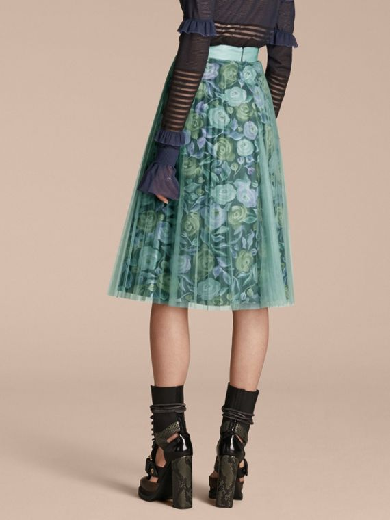 Watercolour Rose Print and Pleated Tulle Skirt in Aqua Green - cell image 2