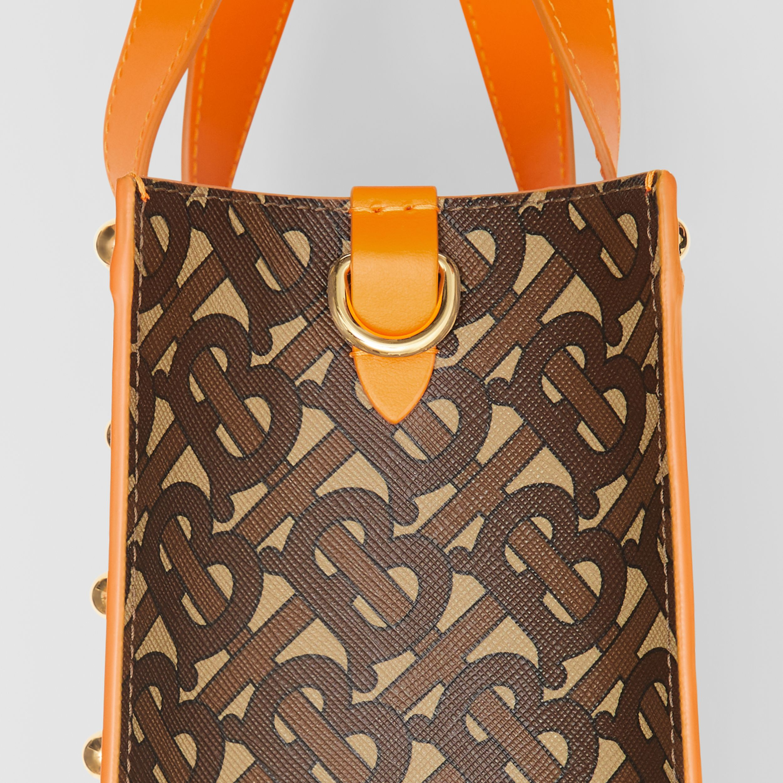 Small Monogram Print E-canvas Portrait Tote Bag in Bright Orange - Women | Burberry - 2