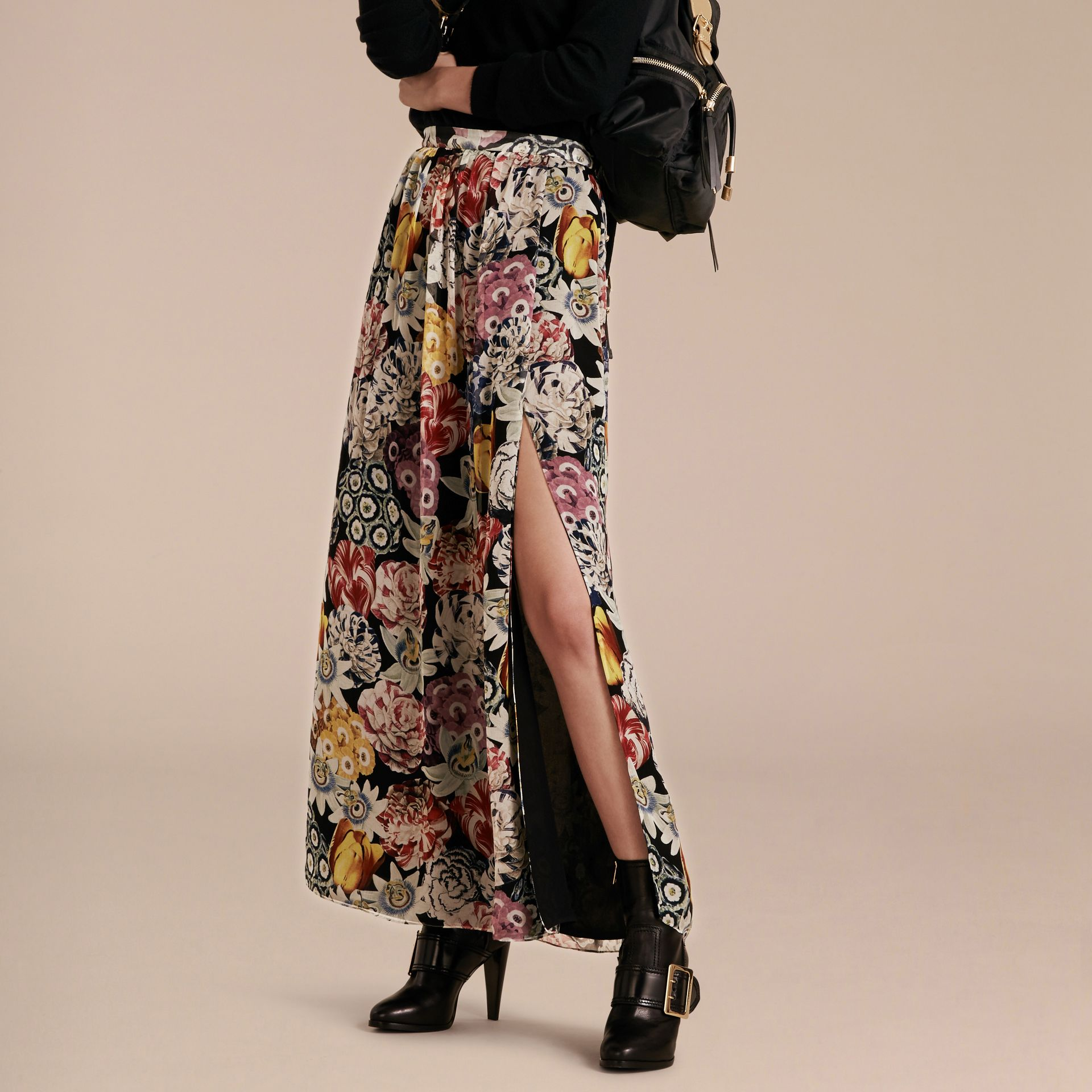 Black Floor-length Floral Print Silk Skirt - gallery image 6