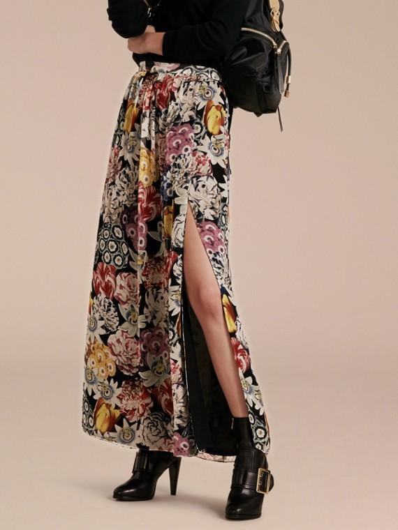 Floor-length Floral Print Silk Skirt
