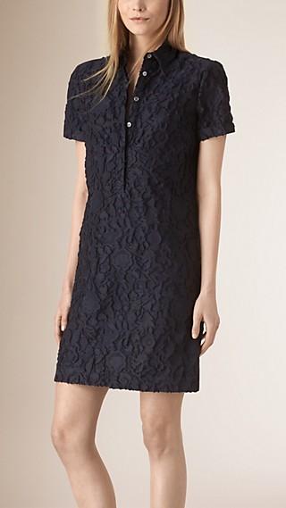 Short-sleeved Fil Coupé Cotton Silk Shirt Dress