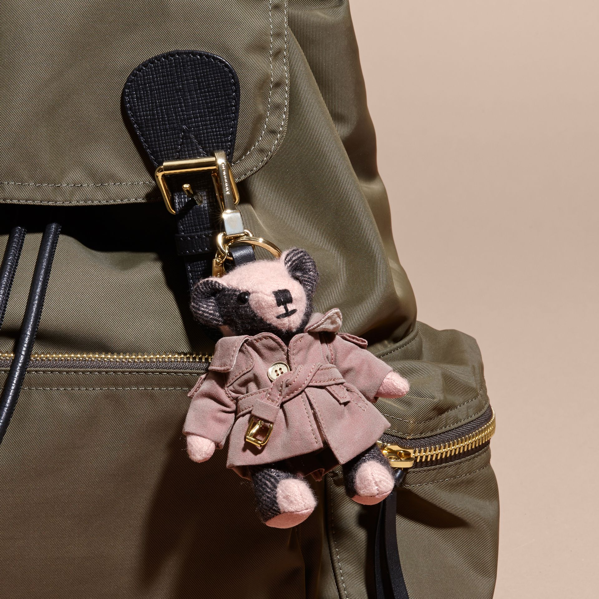 Thomas Bear Charm with Tropical Gabardine Trench Coat Ash Rose - gallery image 3