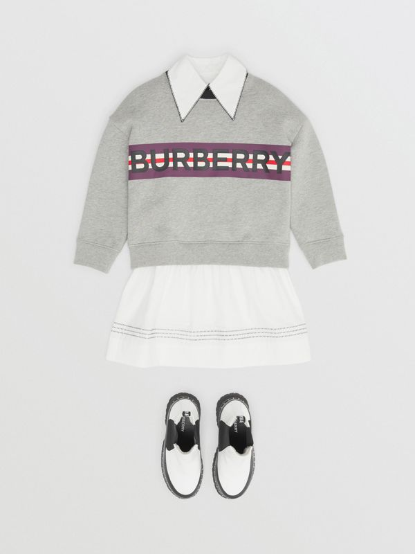 Logo Print Jersey Sweatshirt in Grey Melange | Burberry - cell image 2