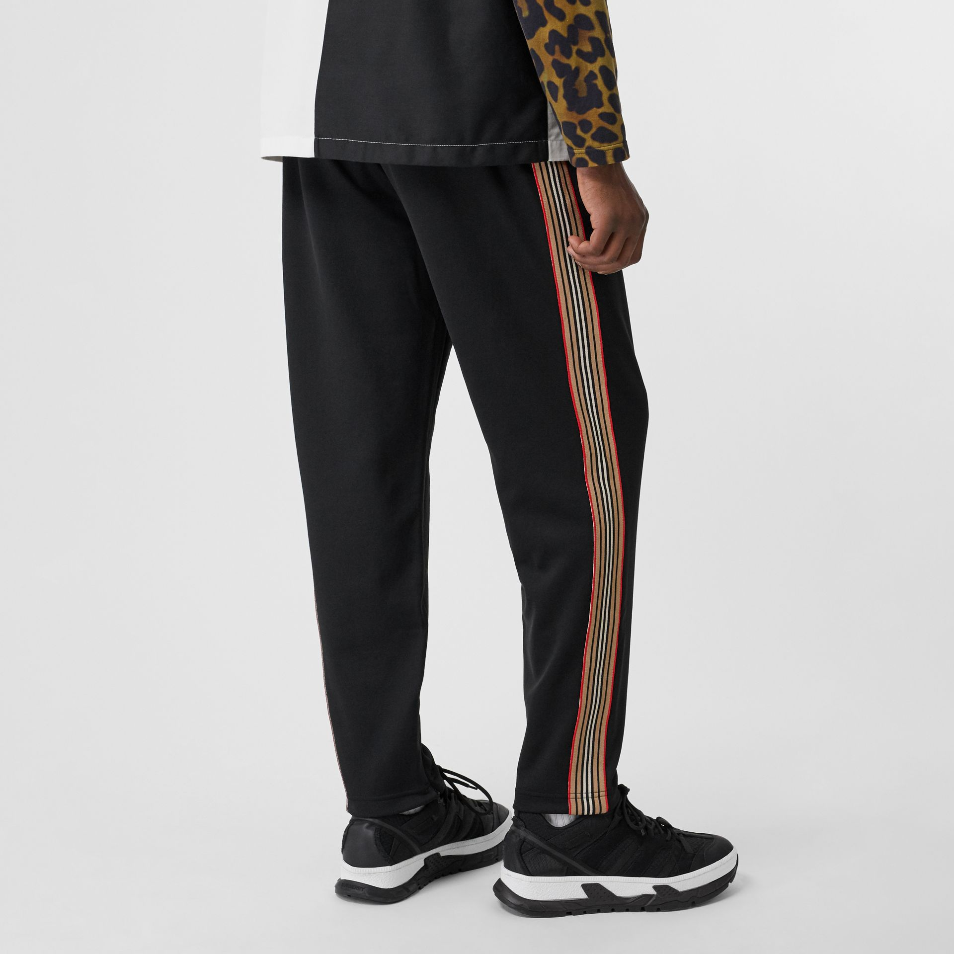 Icon Stripe Detail Jersey Trackpants in Black - Men | Burberry - gallery image 2