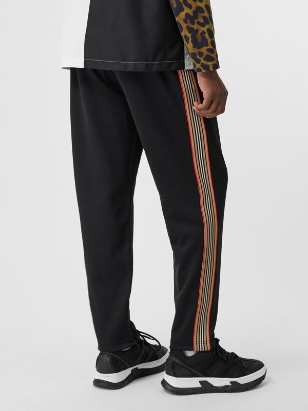 Icon Stripe Detail Jersey Trackpants in Black - Men | Burberry - cell image 2