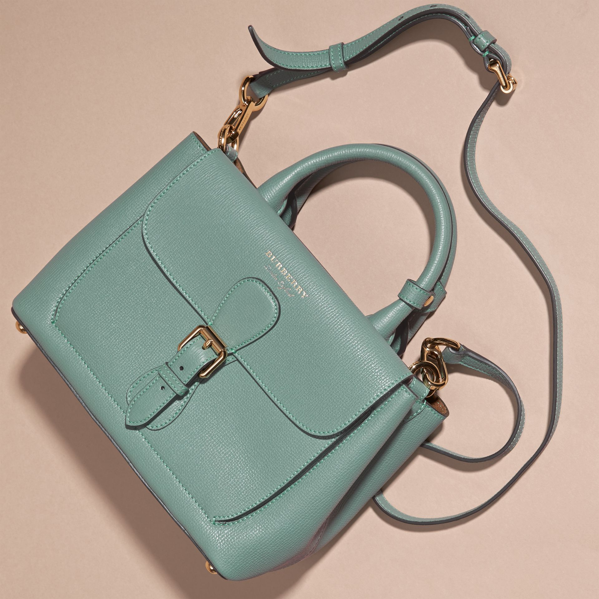 Smokey green The Small Saddle Bag in Grainy Bonded Leather Smokey Green - gallery image 7