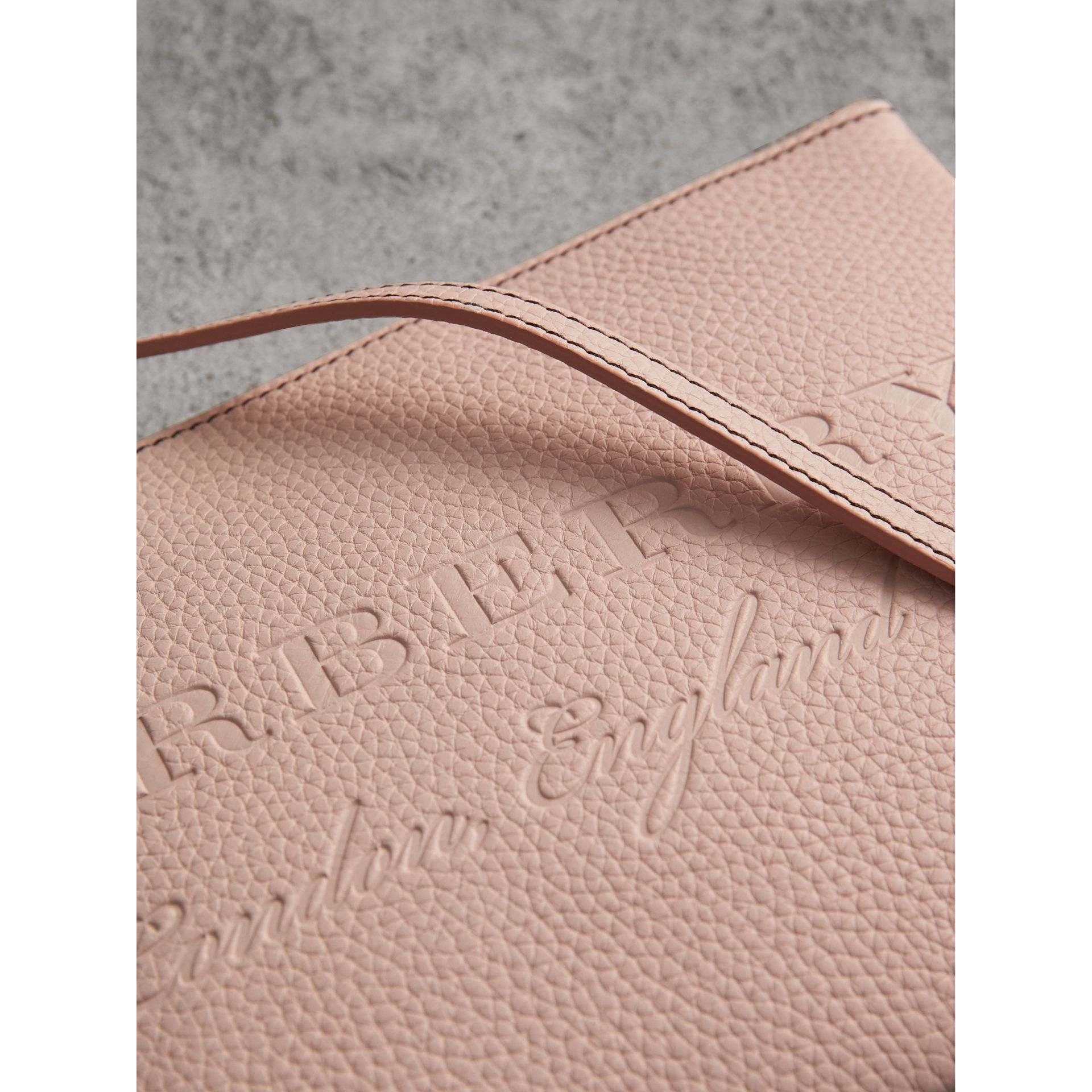 Embossed Leather Clutch Bag in Pale Ash Rose - Women | Burberry - gallery image 2
